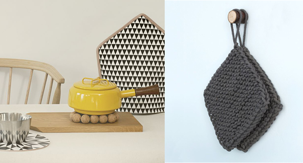 Cork Coaster & handmade Hand Knit Pot Holders in Charcoal