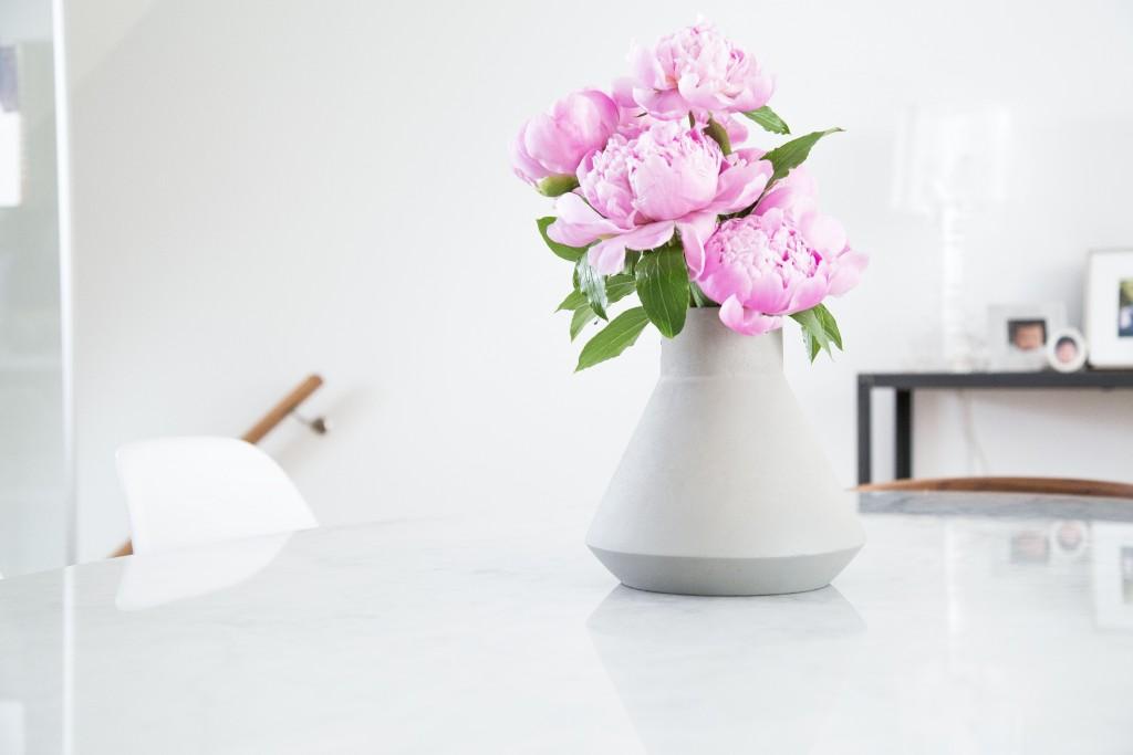 Peonies in Modern Concrete Vase